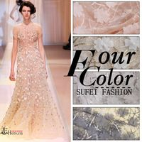 130cm wide three-dimensional applique chiffon embroidery lace fabric material