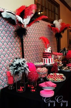 Decorate This Cute Black Red White party decor Few of my