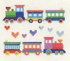 Cross Stitch Design TOY TRAINS - Childs Sampler ~ Full counted cross stitch kit all materials - Cross Stitch Pattern Maker, Baby Cross Stitch Patterns, Cross Stitch Borders, Cross Stitch Baby, Cross Stitch Alphabet, Cross Stitch Samplers, Modern Cross Stitch, Counted Cross Stitch Patterns, Cross Stitch Designs