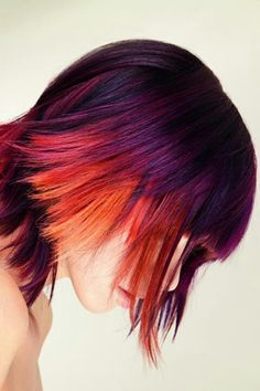 Plum purple fuscia orange     Love this hair combo. Would look wicked cool on long curly hair. Maybe with hair chalk.