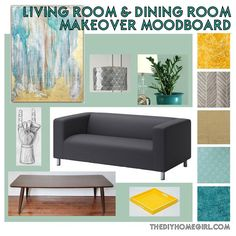 Living Room Dining Room Makeover Moodboard The DIY Homegirl mid century modern eclectic Scandinavian decor abstract art silver pendant lamp taper legs coffee table mannequin hand art batik herringbone linen IKEA Klippan gray teal aqua gold wood ZZ plant Opal Silk Behr interior latex paint