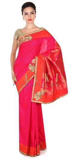Buy this Rani pink saree in brocade silk with zardosi border only on Kalki