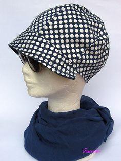 cappello Berretto con visiera anni 30 denim blu a di Janecolori