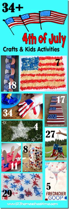 34+ fun and creative 4th of July Crafts and Kids Activities! This is the best of the best in patriotic crafts for Independence Day!!  #4thofjuly #kidsactivities