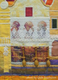 """close up, """"Curaçao Houses"""" by Nel-An van Eenennaam. 2015 World Quilt Show. Photo by Quilt Inspiration. Quilts of Curaçao"""