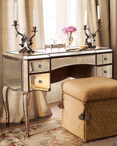Mirrored Vanity Furniture Vanity, Mirrored Furniture, Hooker Furniture, Dream Furniture, Bedroom Furniture, Bedroom Decor, Furniture Board, Folding Furniture, Glam Bedroom