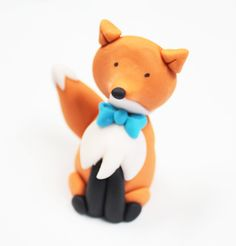 Woodland FOX bow tie fondant cake topper - 1 qty Edible 2.5 inch for a woodland party, camping party, birthday, wedding shower. $7.00, via Etsy.