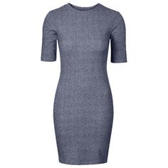 Blue Ribbed Knit Bodycon Dress Lookbook Store (32 CAD) ❤ liked on Polyvore featuring dresses, rib knit dress, body con dress, blue dress, body conscious dress and bodycon dress
