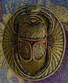 Brooch Golden Beetle scarab gold thread embroidery