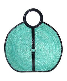 Take a look at this Turquoise Circle Straw Satchel by Vecceli Italy on #zulily today!