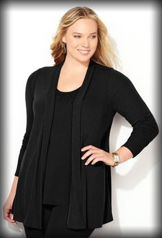 b44b7b5681f Shirred Back Hatchi Cardigan • Lightweight hatchi knit cardigan. • Wide  placket. • Shirring. Plus Size ...