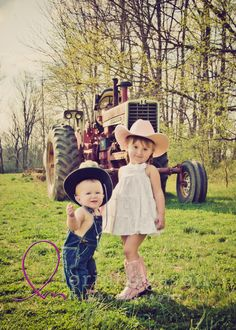 children, siblings, tractor, country