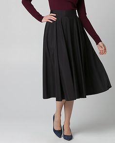 Taffeta Flare Skirt - A long, flared silhouette lends feminine style to a taffeta skirt that flows with every step.