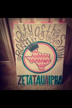 zta canvas | Zeta Tau Alpha Royalty of the South Canvas! ZTA, ... | Zeta Tau Alp...