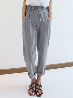 Straight Stripes Stretch High Waist Pants. #fashion #pants