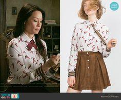 Joan's bird print blouse on Elementary.  Outfit Details: https://wornontv.net/55929/ #Elementary