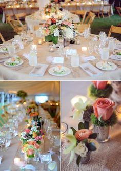 peach and green wedding decor