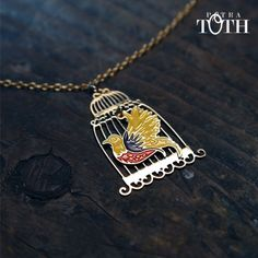 Slovakian Folk Bird in Golden Cage by Petra Toth Jewellery. Cage, Folk, Enamel, Jewellery, Bird, How To Make, Accessories, Collection, Design