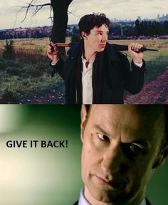 Sherlock's Revenge: when they were kids, Mycroft broke Sherlock's Action Man and nicked all his Smurfs...