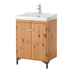 IKEA - SILVERÅN / TÄLLEVIKEN, Sink cabinet with 2 doors, light brown, , Adjustable feet for increased stability and protection against a wet floor.A good solution with space is limited.