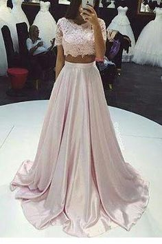Pink prom dress,A-line lace two pieces long prom dress,fashion dress for girls