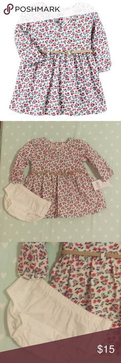 NWT Carter's Floral Dress with Belt Size 3 Months Brand new dress with tags in perfect condition. Dress is white with floral design. Comes with white diaper cover and has a cute suede like belt. Smoke free pet free home. Carter's Dresses Casual