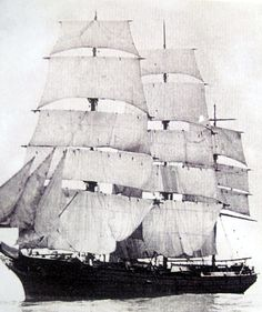 "The clipper ship ""Torrens"" with nearly all sails set. Conrad made several voyages to Australia on board this fine ship. Old Sailing Ships, Ship Names, Vintage Boats, Dinghy, Set Sail, Submarines, Aircraft Carrier, Tall Ships, Vintage Photography"