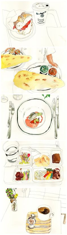 illustration : – Picture : – Description Juriko Kosaka -Read More – Illustration Main, Watercolor Illustration, Food Drawing, Painting & Drawing, Drawing Sketches, Art Drawings, Watercolor Food, Watercolour, Pinterest Instagram