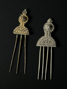 Hair accessories from Ethiopia, silver combs