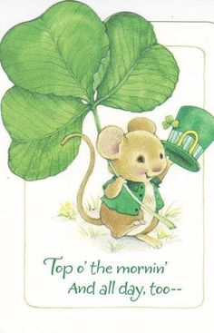 CuTe Hallmark St Patricks Day Card Mouse with Shamrock Saint Patricks Day Art, St Patricks Day Cards, St Patricks Day Quotes, Irish Images, Vintage Magazine, Mouse Crafts, Erin Go Bragh, Hamster, Irish Blessing