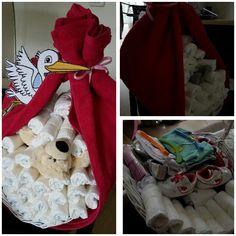 DIY Geboorte baby - luiermand ooievaar (met aan de binnenkant diverse cadeaus)
