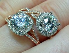 Detail: Rose gold and diamond engagement rings by Coast Diamond. Via Diamonds in the Library.