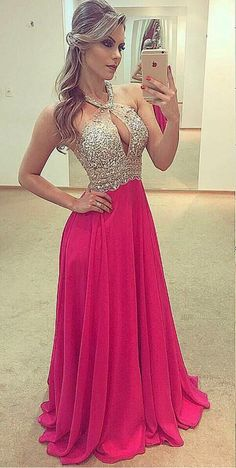 Sexy Chiffon Prom Dress, Backless Long Prom Dresses #prom #promdress #dress #eveningdress #evening #fashion #love #shopping #art #dress #women #mermaid #SEXY #SexyGirl #PromDresses