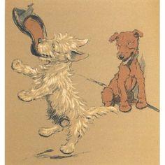 Mac 1912 Playing with slipper Canvas Art - Cecil Aldin (18 x 24)