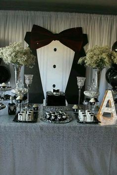 Black and white tuxedo birthday party! See more party planning ideas at… Soirée James Bond, James Bond Party, James Bond Theme, 50th Birthday Party Ideas For Men, Adult Birthday Party, Man Birthday, Bowtie Birthday Party, Birthday Decorations For Men, Mustache Party