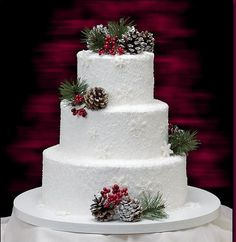 Зимний торт/ Winter cake/ New Year cake/ Christmas cake/ Simple cake with white frosting, sugared raspberry and rosemary or some similar herb. Find more here https://www.facebook.com/wedding.tradition/
