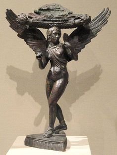 Lasa (patera support), 300-280 BCE, Etruscan, bronze with silver inlays