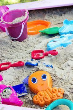 Mermaid Birthday Beach Sand Play Area via Kara's Party Ideas | karaspartyideas.com