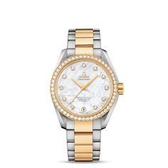 Seamaster Aqua Terra 150 M Omega Master Co-Axial Ladies' 38.5 mm - ref. 231.25.39.21.55.002.  This luxurious model features a pearled mother-of-pearl dial with 11 diamond indexes in 18K gold holders. This 38.5 mm 18K yellow gold and stainless steel ladies' wristwatch, with its diamond-set bezel, is presented on a stainless steel bracelet with 18K yellow gold links.