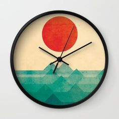 Wall Clock featuring The Ocean, The Sea, The Wave by Picomodi