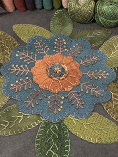 Summer blocks of the week…All versions… – Lisa Bongean's Web Blog. Primitive version with lots of embellishing added.