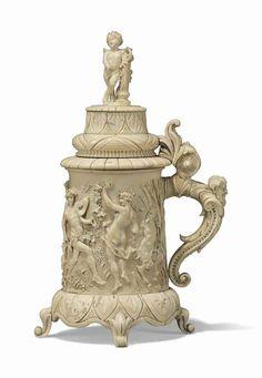 German Beer Steins, Sculpture Art, 19th Century, Alcoholic Drinks, Ivory, Carving, Ceramics, Brewing, Breakfast Nook