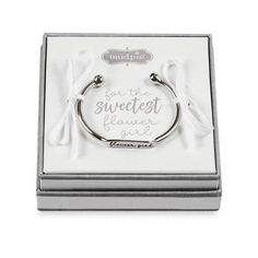Arrives in silver foiled gift box . Flower Girl Gifts, Baby Girl Gifts, Bride Gifts, Wedding Gifts, Wedding Ideas, Cute Gifts, Great Gifts, Flower Girl Bracelets, Scout Bags