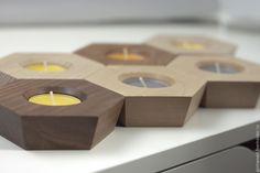 Купить Подсвечники из дерева. Орех и клён. Набор из 3 штук. - коричневый, для дома и интерьера, подсвечник