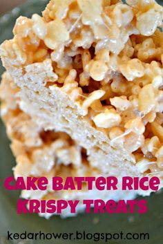 Cake Batter Rice Krispy Treats  1/2 cup yellow cake mix (or white, or funfetti, or whatever) 1/2 cup cream cheese frosting 1 10-oz bag mini marshmallows 4 T. butter 1 t. vanilla 6 cup Rice Krispy cereal  In a large saucepan, melt the butter.  Stir in the cake mix, cream cheese frosting, vanilla, and mini marshmallows. Mix well until the marshmallows have melted.   Fold in the cereal until it's all covered with the marshmallow mixture.  Spread into an 8x8 pan.