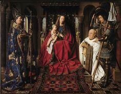 Jan van Eyck, Madonna del canonico van del Paele, 1436. Olio su tavola. Bruges, Museo Groeniuge.