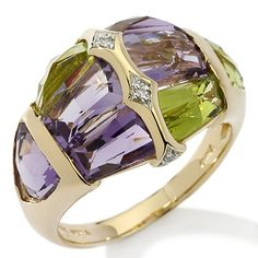 Victoria Wieck 3.2ct Special Cut Gem and Diamond 14K Ring