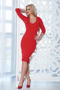 Comanda online, Rochie eleganta midi StarShinerS rosie cu decolteu. Articole masurate, calitate garantata! Red Midi Dress, Bodycon Dress, High Heels, Easter, Spandex, Collection, Dresses, Fashion, Atelier