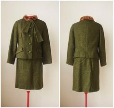 vintage 1960s wool suit set  60s moss green by KodachromeNostalgia