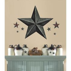New Giant SLATE GRAY BARN STAR WALL DECALS Country Kitchen Stars Stickers Decor #RoomMates #Country